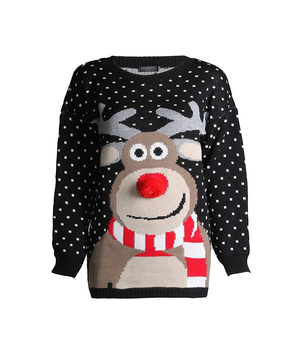 Beautiful 3D Nose Pom Pom Christmas Jumper for Kids