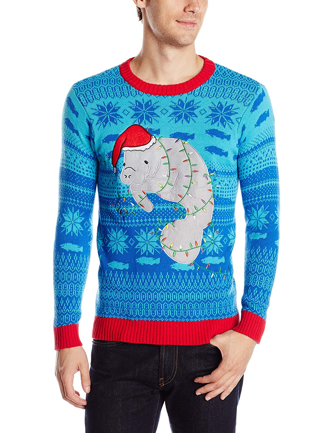 Blizzard Bay Men's Festive Manatee Ugly Christmas Sweater