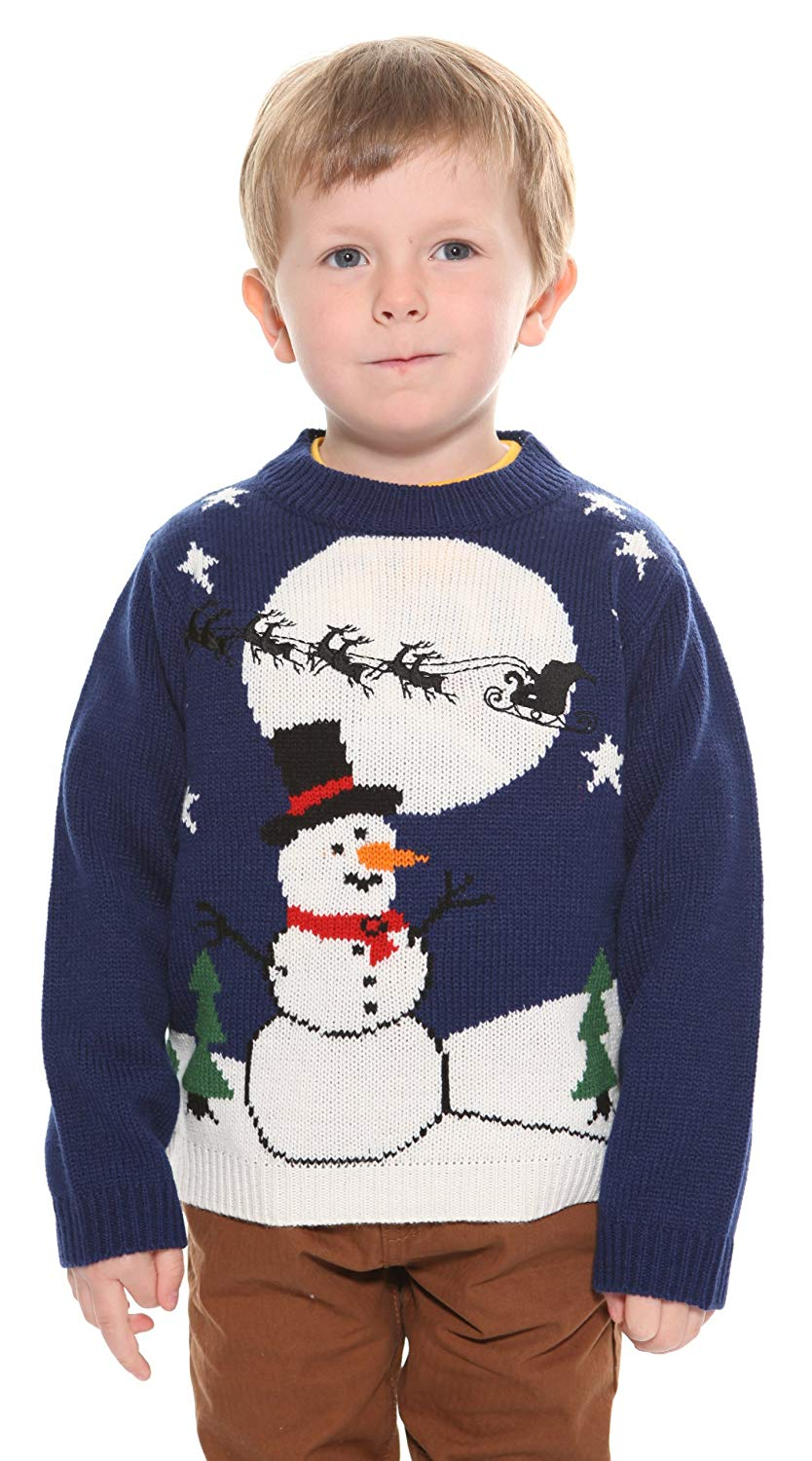 Kids Snowman Sleigh Sweater