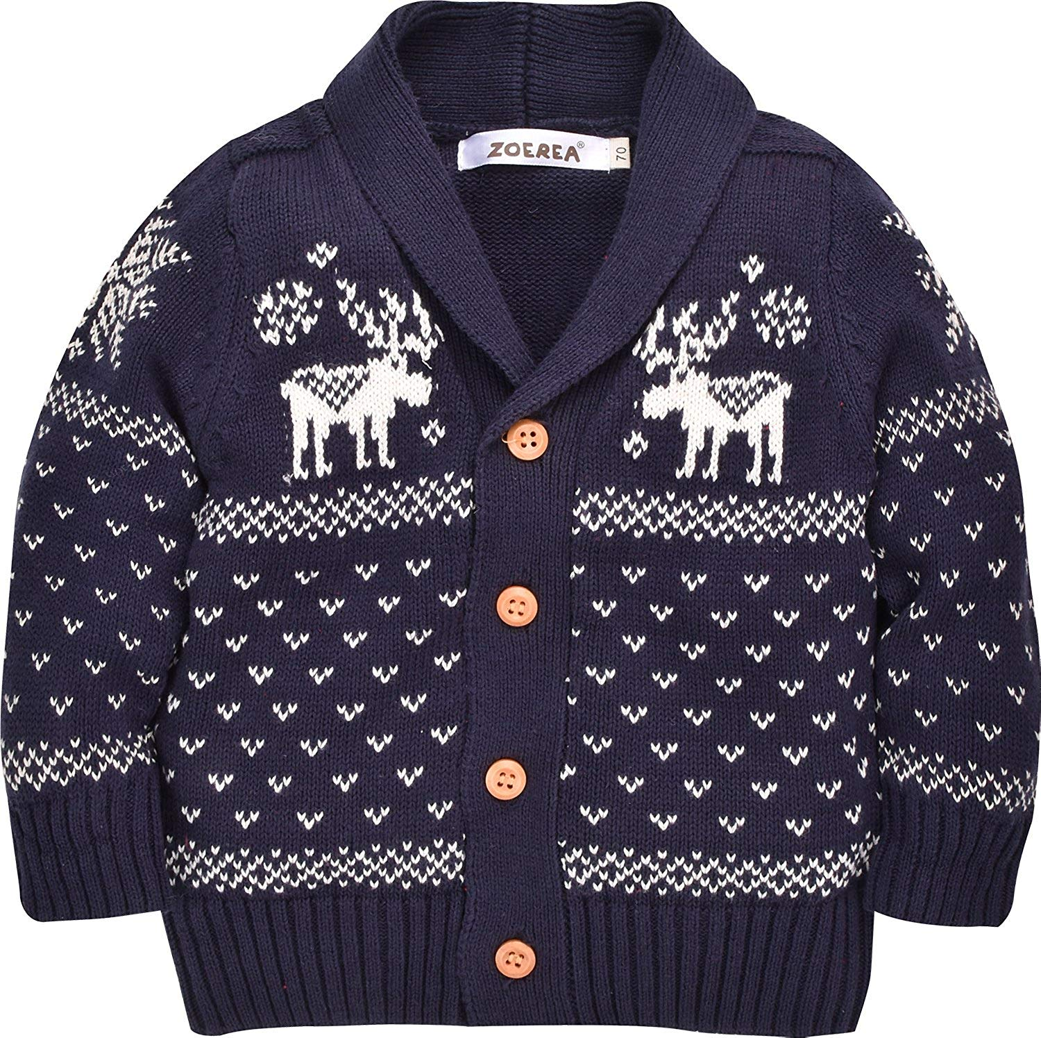 Unisex Baby Cotton Coat Deer Christmas Cardigan Sweater