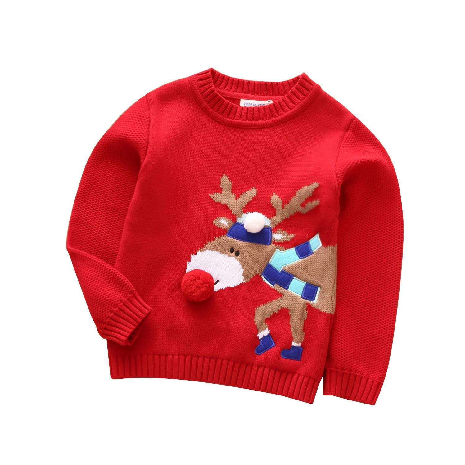Velius Girl's Long Sleeve Knit Elk Christmas Sweater Tops 01