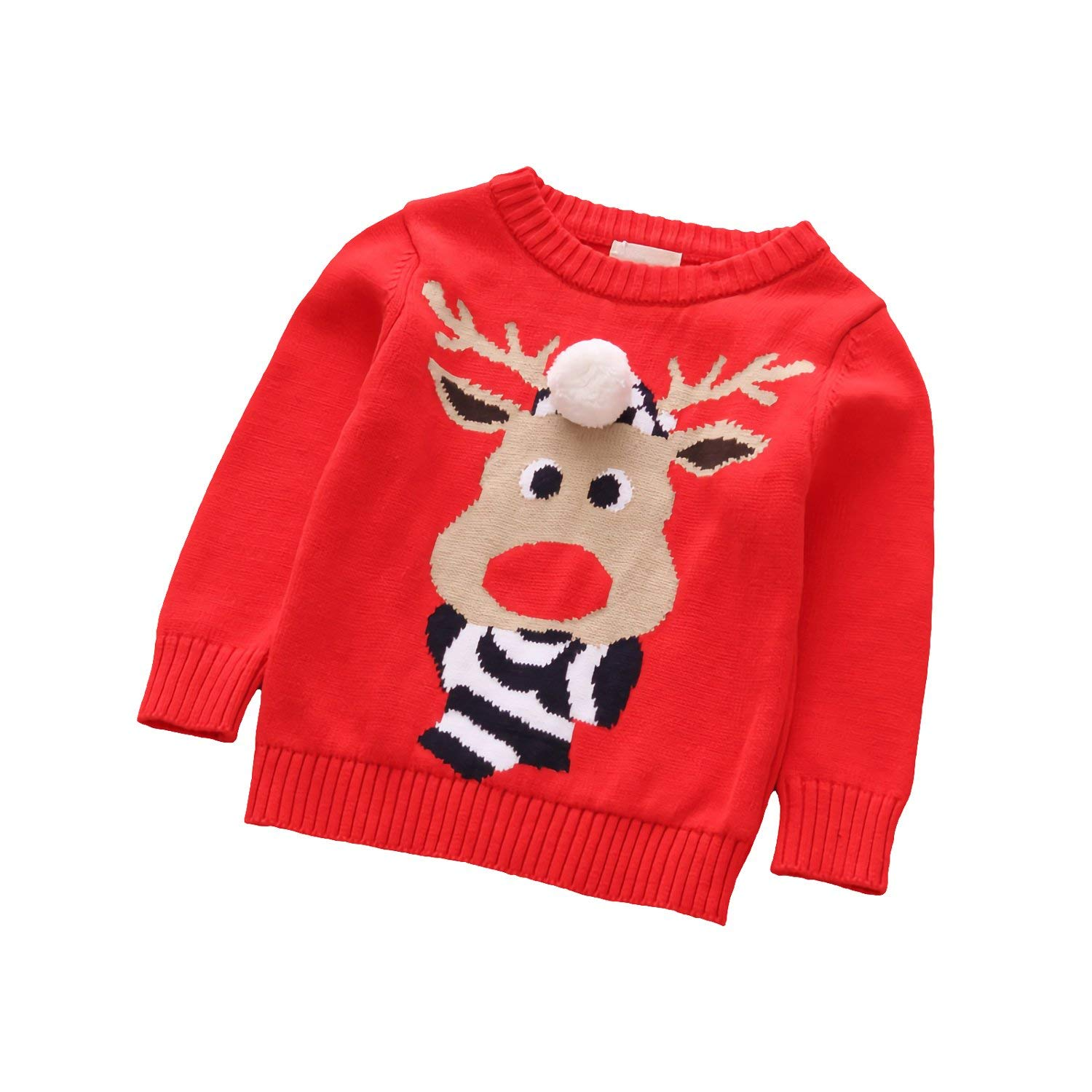 Velius Girl's Long Sleeve Knit Elk Christmas Sweater Tops 03