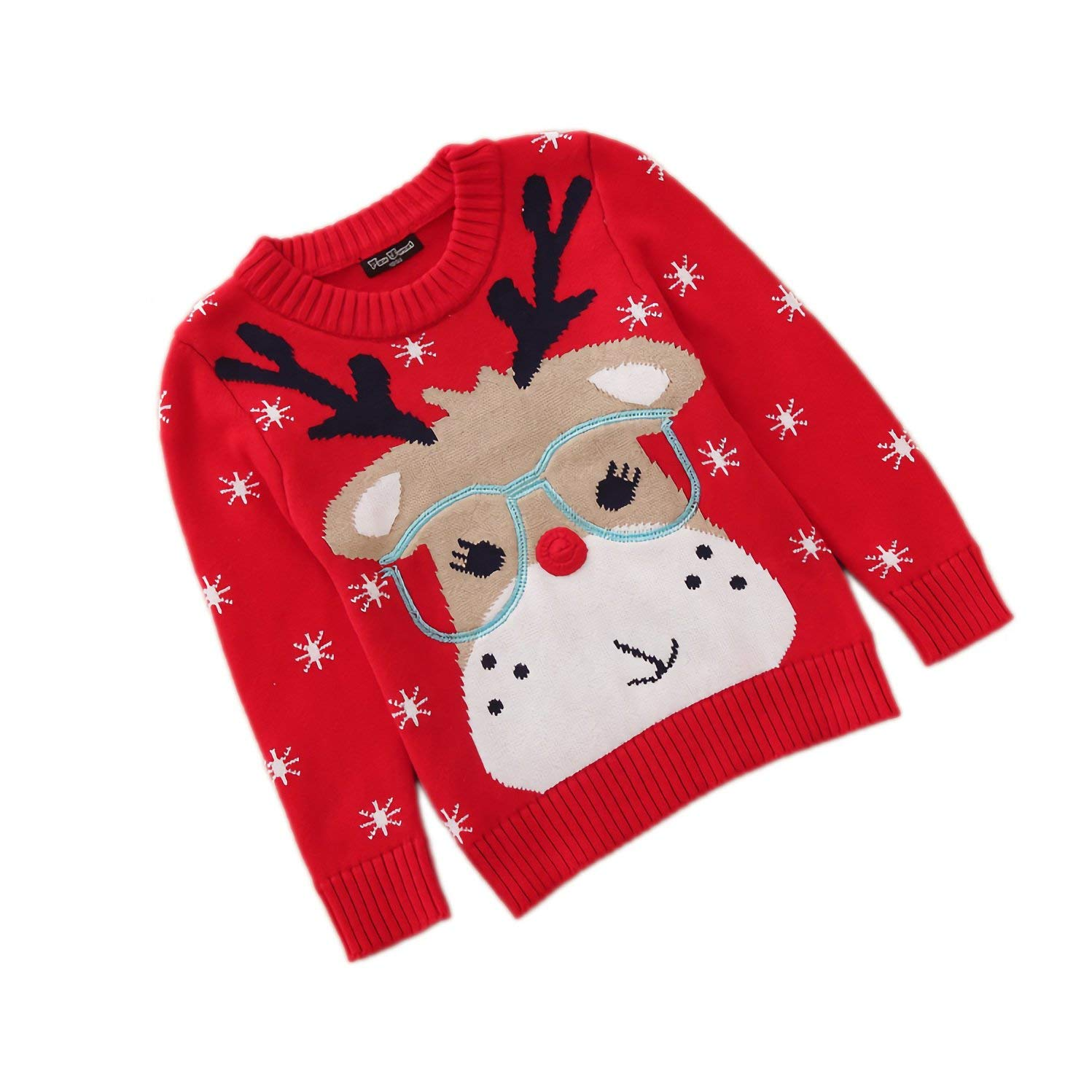 Velius Girl's Long Sleeve Knit Elk Christmas Sweater Tops