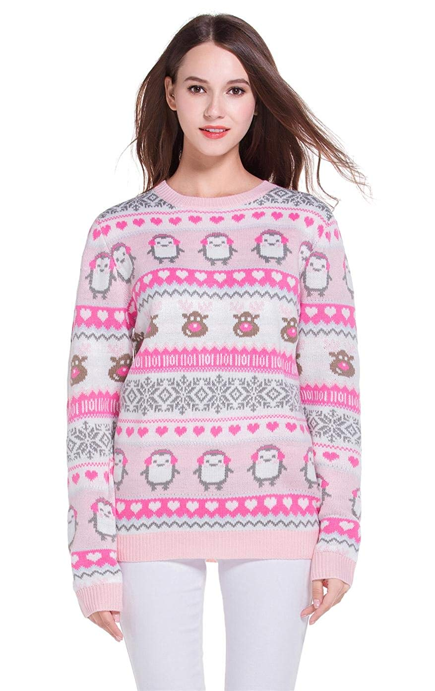 Women's Christmas Cute Penguin Knitted Sweater Girl Pullover 03
