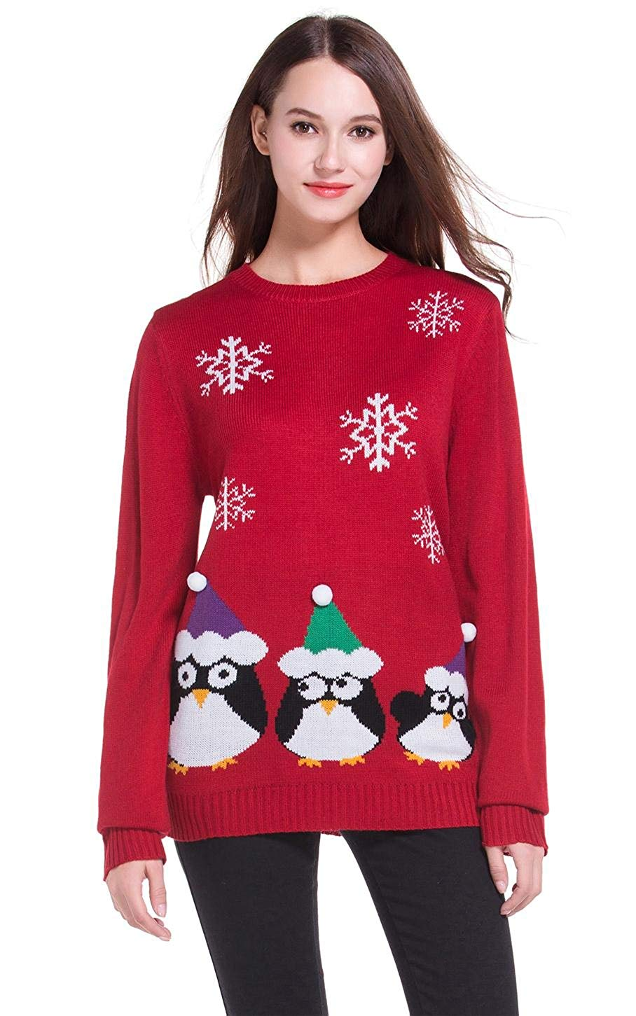 Women's Christmas Cute Penguin Knitted Sweater Girl Pullover