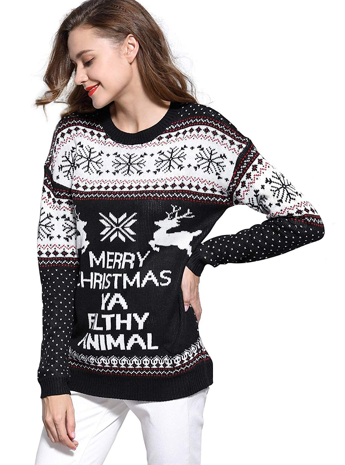 Women's Christmas Reindeer Snowflakes Sweater Pullover 01