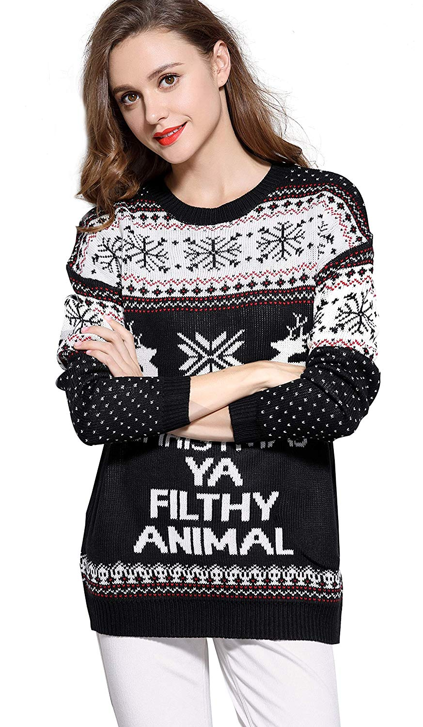 Women's Christmas Reindeer Snowflakes Sweater Pullover 02