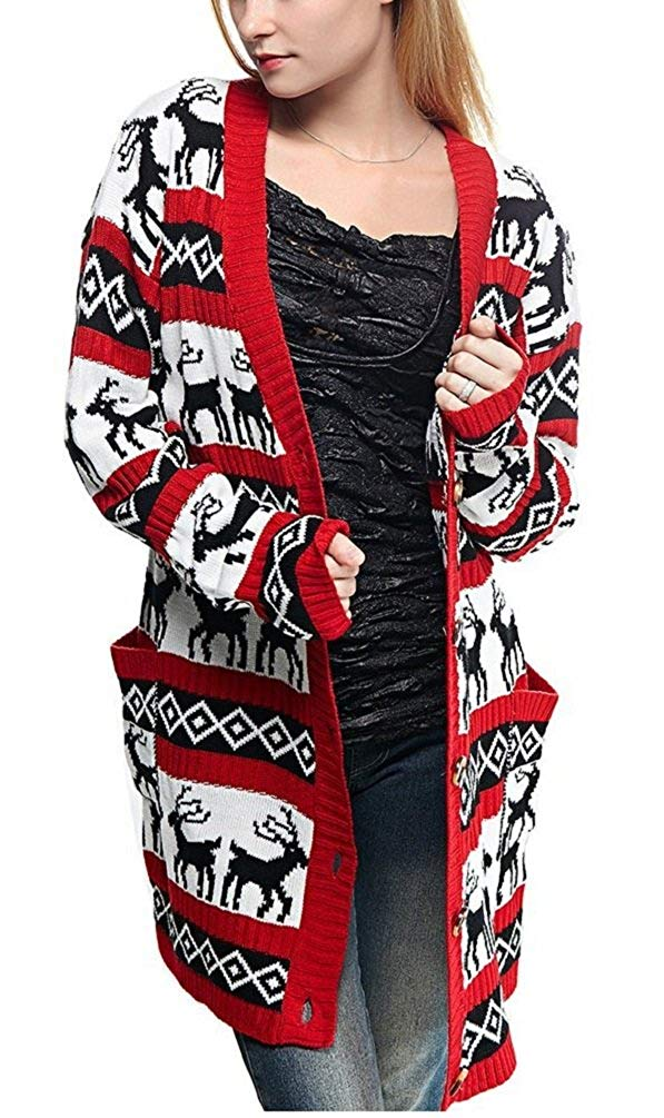 Womens Oversized Christmas Reindeer Cardigan