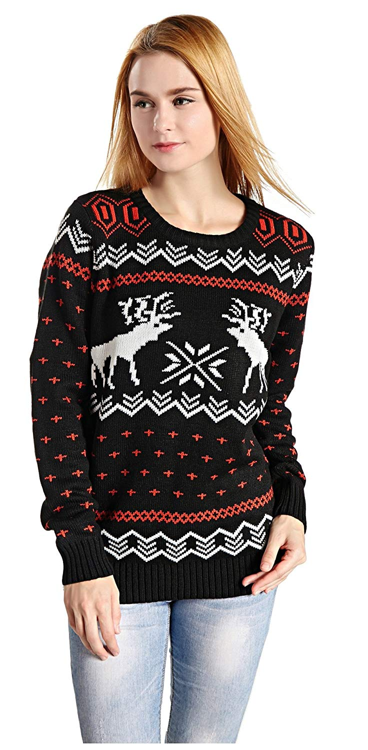Women's Patterns Reindeer Tree Snowflakes Christmas Sweater
