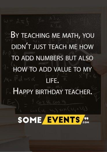 Birthday Wish for Math Teacher