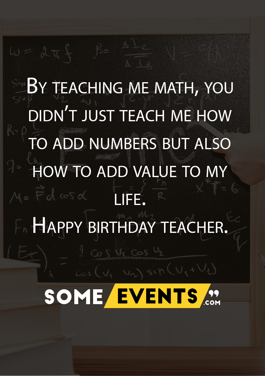 Birthday Wish for Math Teacher